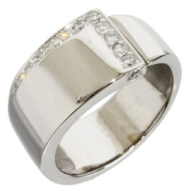 Hermes 18K White Gold & Diamonds Band Ring Size 5.75