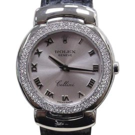 Rolex Cellini 6671 18K White Gold & Leather wDiamond Pink Dial Quartz 26mm Womens Watch