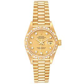 Rolex President Datejust Yellow Gold Pyramid Diamond Bezel Watch 69258