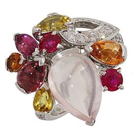 Cartier 18K White Gold Multi Gemstone Delices Ring Size 6