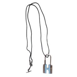 Hermes Silver Tone Hardware & Black Cord Logos H Padlock Pendant Necklace