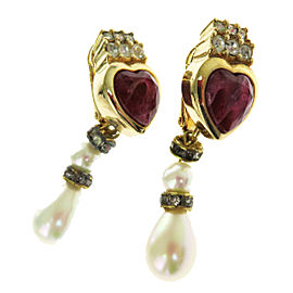 Christian Dior Gold Tone Hardware Rhinestone Faux Pearl Heart Clip-On Earrings
