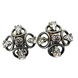 Chanel Vintage CC Silver Tone Hardware with Rhinestone Clip-On Earrings