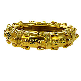 Chanel Vintage CC Logo Gold Tone Hardware Bangle Bracelet