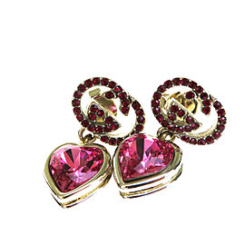 Gucci Silver Tone Hardware & Pink Rhinestone Heart Pierce Earrings