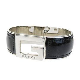 Gucci Silver Tone Hardware & Leather Logos Bangle Bracelet