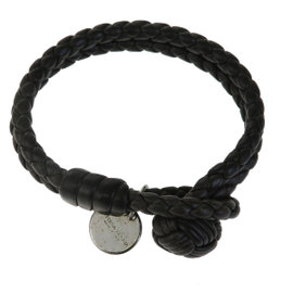 Bottega Veneta Leather & Silver Tone Hardware Intrecciato Bangle Bracelet