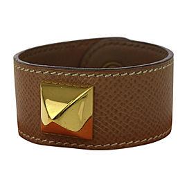 Hermes Studded Leather & Gold Tone Hardware Medor Bangle Bracelet