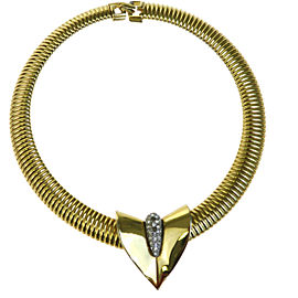 Givenchy Gold Tone Hardware and Rhinestone Choker Necklace