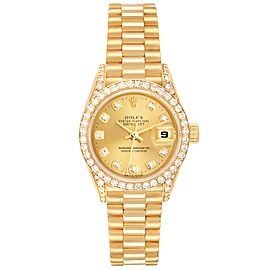 Rolex President Datejust 26mm Yellow Gold Diamond Ladies Watch 69238