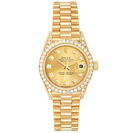 Rolex President Datejust 26mm Yellow Gold Diamond Ladies Watch 69238