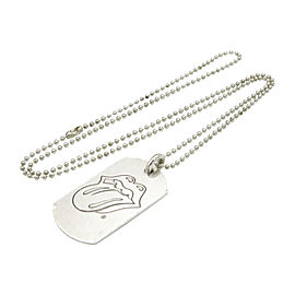 Chrome Hearts 925 Sterling Silver Rolling Stone Dog Tag Pendant Chain Necklace