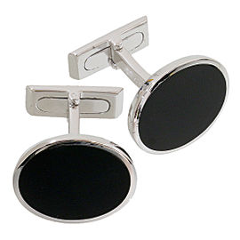 Gucci 18K White Gold Onyx Cufflinks