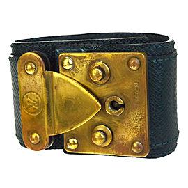 Louis Vuitton Gold Tone Hardware and Taiga Leather Bangles Bracelet