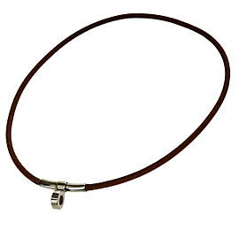 Hermes Leather & Silver Tone Hardware Kelly Choker Necklace