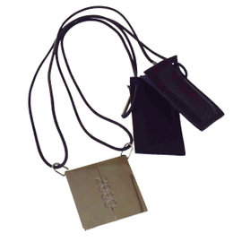 Hermes Leather & Silver Tone Hardware 2000 Logo Pear Pendant Necklace