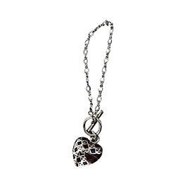 Christian Dior Silver Tone Hardware Heart Motif Bracelet