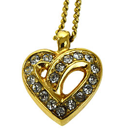 Christian Dior Gold Tone Hardware with Rhinestone Heart Pendant Necklace