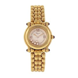 Chopard Happy Sport 27/6150-21 18K Yellow Gold Floating Diamonds Quartz 26mm Womens Watch