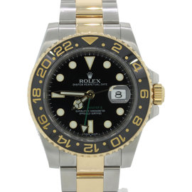Rolex GMT-Master II Ceramic 116713 Two Tone 18K Yellow Gold / Stainless Steel Black Date 40mm Mens Watch