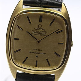 Omega Constellation Yellow Gold / Leather Automatic 31mm Vintage Mens Watch