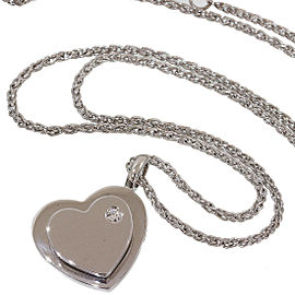 Piaget 18K White Gold with Diamond Heart Design Pendant Necklace