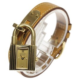 Hermes Kelly Watch Gold Plated / Stainless Steel & Leather Belt 20mm Womens Watch