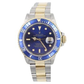 Rolex Submariner 16803 18K Yellow Gold & Stainless Steel with Blue Dial 40mm Mens Watch