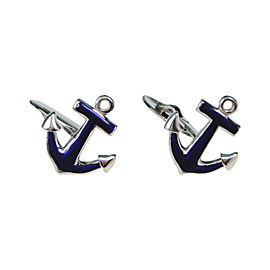 Tiffany & Co. 925 Sterling Silver & Enamel Anchor Nautical Cufflinks