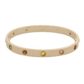 Cartier Love 18K Rose Gold with Rainbow Style Gemstone Bangle Bracelet Size 17