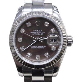 Rolex Datejust 179174 18K White Gold & Stainless Steel with Diamond Automatic 26mm Womens Watch