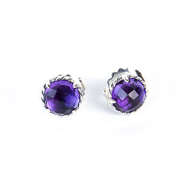 David Yurman Chatelaine 925 Sterling Silver with Amethyst Earrings
