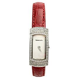 Tiffany & Co. T1004M 18K White Gold & Leather With Diamond Quartz 13.5mm Womens Watch