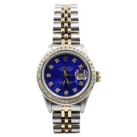 Rolex Datejust 69173 18K Yellow Gold & Stainless Steel Custom Diamonds Automatic 26mm Womens Watch