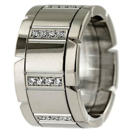 Cartier Tank Francaise 18K White Gold with 0.32ct Diamond Band Ring Size 5.75