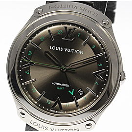 Louis Vuitton Q6D30 Stainless Steel & Leather Automatic 39mm Mens Watch