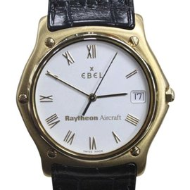 Ebel Classic Wave 1911 / 8187141 18K Yellow Gold & Leather Quartz 35mm Mens Watch