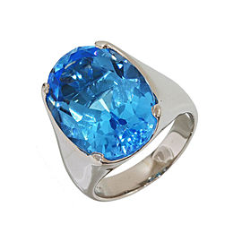Yves Saint Laurent Pt900 Platinum with Blue Topaz Ring Size 6.25