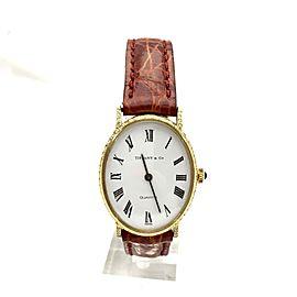 Tiffany & Co. TC440M 18K Yellow Gold / Leather with Diamonds Quartz 25.50mm Womens Watch