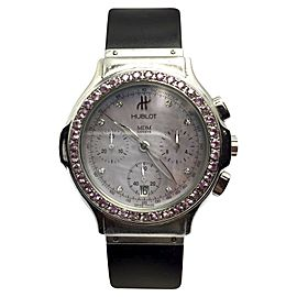 Hublot Chronograph HB5217M Stainless Steel / Rubber with Purple Mother of Pearl Dial and Pink Sapphires 37.30mm Womens Watch