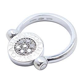 Bulgari 18K White Gold with 0.20ct Diamond Flip Ring Size 3.5