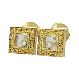 Chopard 18K Yellow Gold with 0.69ctw Yellow Sapphire & 0.11ctw Diamond Happy Square Earrings