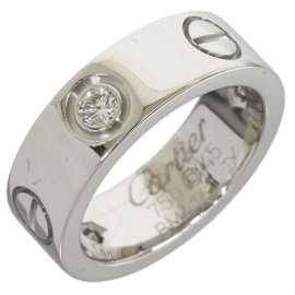 Cartier 18K White Half Diamonds Love Ring Size 3.5
