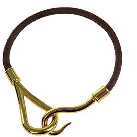 Hermes Gold Tone Hardware and Brown Leather Logo Jumbo Hook Bangle Bracelet