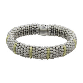 Lagos Caviar 18K Yellow Gold & 925 Sterling Silver Beaded Ball Bracelet