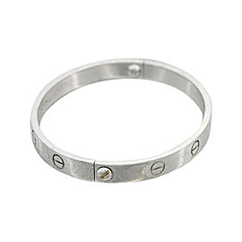 Cartier 18K White Gold Love Bangle Bracelet Size 17