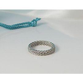 Tiffany & Co. 18K White Gold Narrow Band Ring Size 7.5