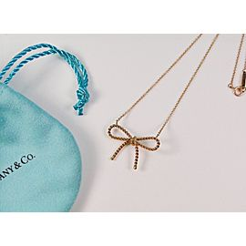 Tiffany & Co. 18K Rose Gold Twist Bow Pendant Necklace