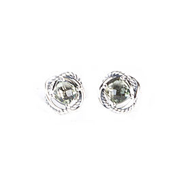 David Yurman Infinity 925 Sterling Silver with Prasiolite Earrings