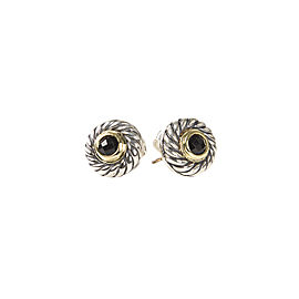 David Yurman 925 Sterling Silver and 14K Yellow Gold with Onyx Earrings